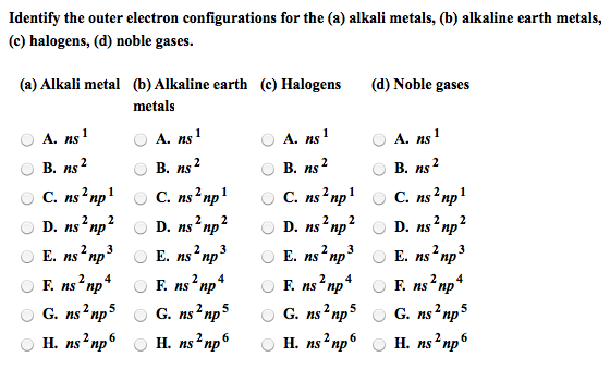 Solved identify the outer electron configurations for the show transcribed image text identify the outer electron configurations for the a alkali metals b alkaline earth metals c halogens d noble gases urtaz Choice Image