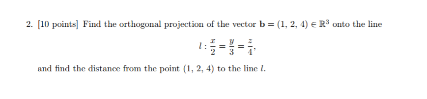 projection of point on line