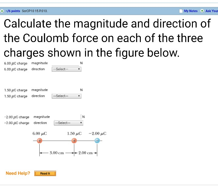 Calculate the magnitude of the electrostatic force question.