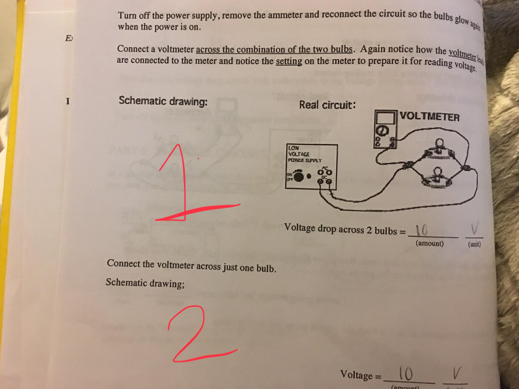 Solved Could Someone Please Help Me Draw Schematic Drawin Wiring Diagram Read And Diagrams Turn Off The Power Supply Remove Ammeter Reconnect Circuit So Bulbs
