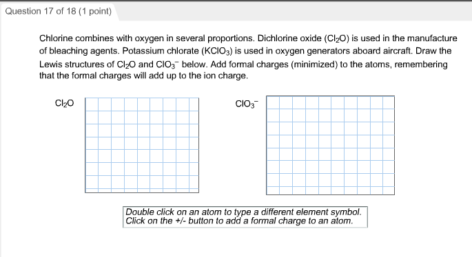 Chemistry archive july 23 2017 chegg question 17 of 18 1 point chlorine combines with oxygen in several proportions urtaz Gallery