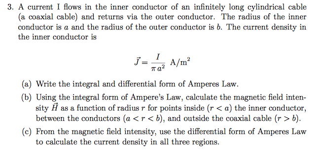 A Current I Flows In The Inner Conductor Of An Inf    | Chegg com