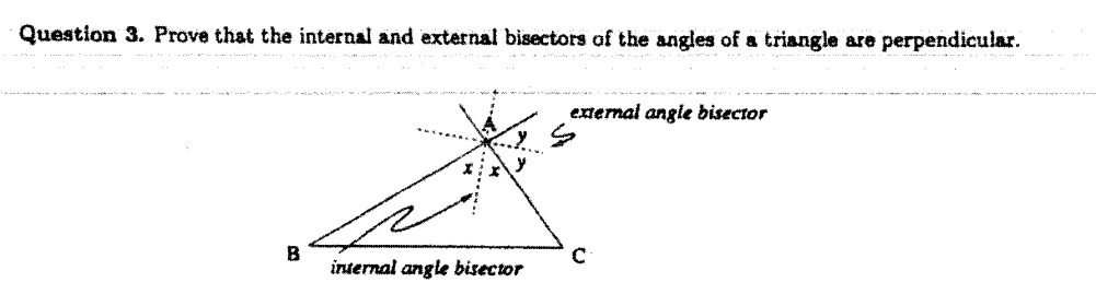Prove That The Internal And External Bisectors Of The Angles Of A Triangle