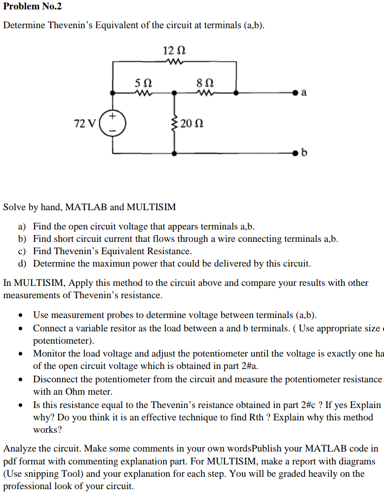 Solved Problem No2 Determine Thevenins Equivalent Of Th Wiring Diagram Is Used To Troubleshoot Problems And Make Sure The Circuit At Terminals Ab 12