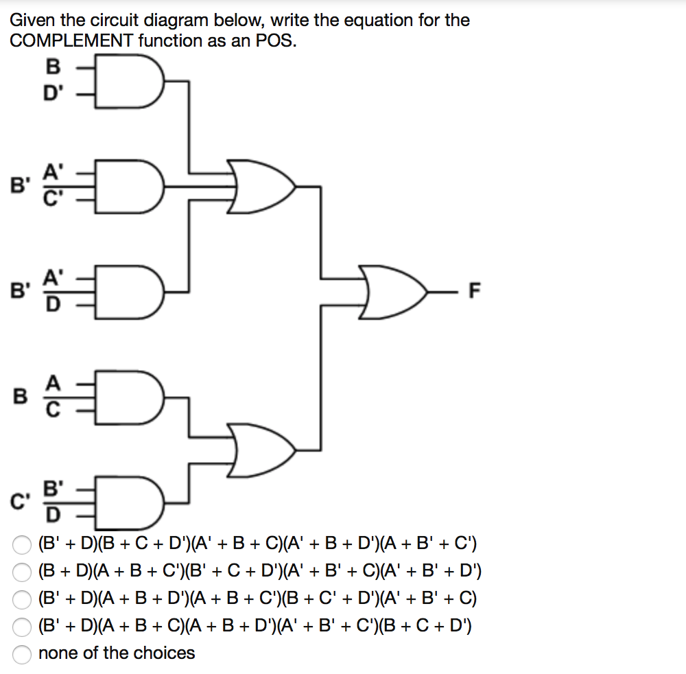 Given the circuit diagram below, write the equation for the COMPLEMENT  function as an POS