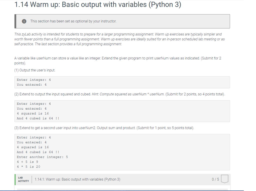 Solved: 1 14 Warm Up: Basic Output With Variables (Python