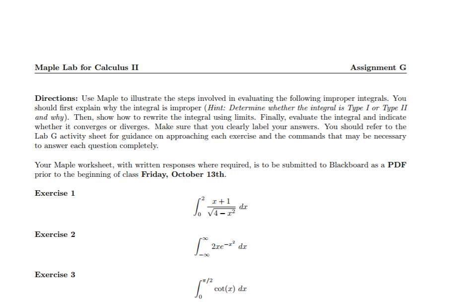 Solved: Maple Lab For Calculus II As Signment G Directions