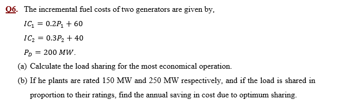 The incremental fuel costs of two generators are g