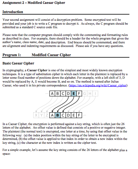 Assignment 2 - Modified Caesar Cipher Introduction
