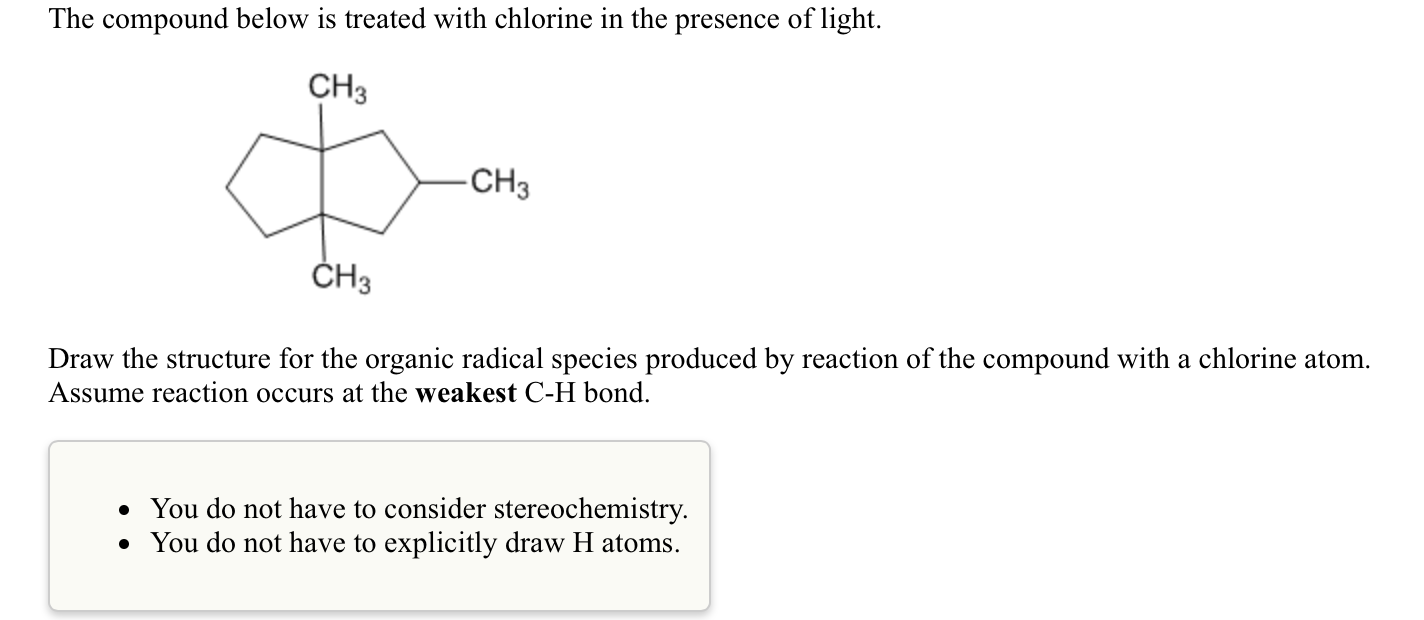 Chemistry archive november 22 2015 chegg the compound below is treated with chlorine in the pooptronica