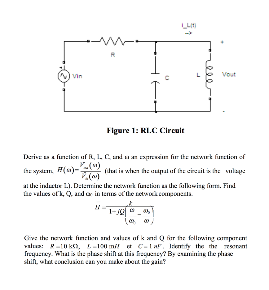 Solved Derive As A Function Of R L C And Co An Express What Is The Resonance Frequency Circuit T Cheggcom I Lt Vout Au Vin Figure 1 Rlc