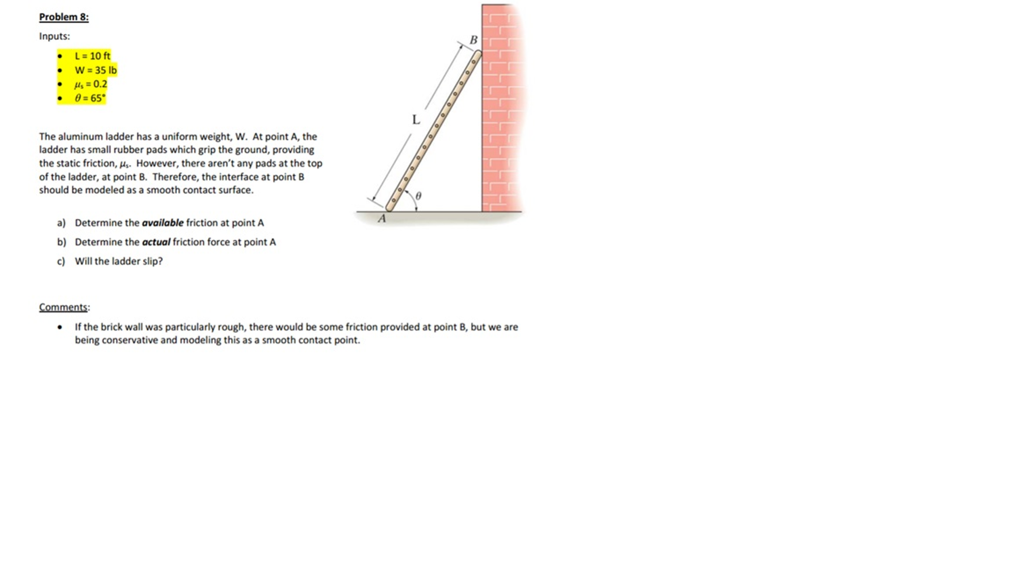 The Aluminum Ladder Has A Uniform Weight, W  At Po