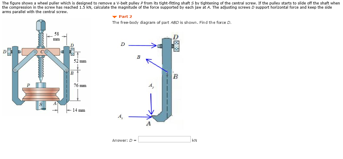Solved: The Figure Shows A Wheel Puller Which Is Designed
