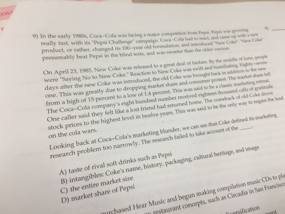 Solved: In The Early 1980s, Coca-Cola Was Facing A Major C