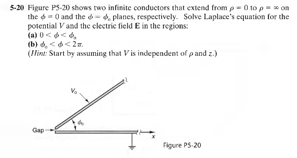 5-20 Figure P5-20 shows two infinite conductors that extend from ρ 0 to ρ = on the φ 0 and the ψ-4, planes, respectively. Solve Laplaces equation for the potential V and the electric field E in the regions (a) 0 < φ〈φ。 (1) φ0 < φ < 2π. (Hint: Start by assuming that V is independent of ρ and z.) Vo Figure P5-20