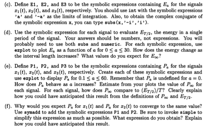 Solved A Create Symbolic Expressions For Each Of The F
