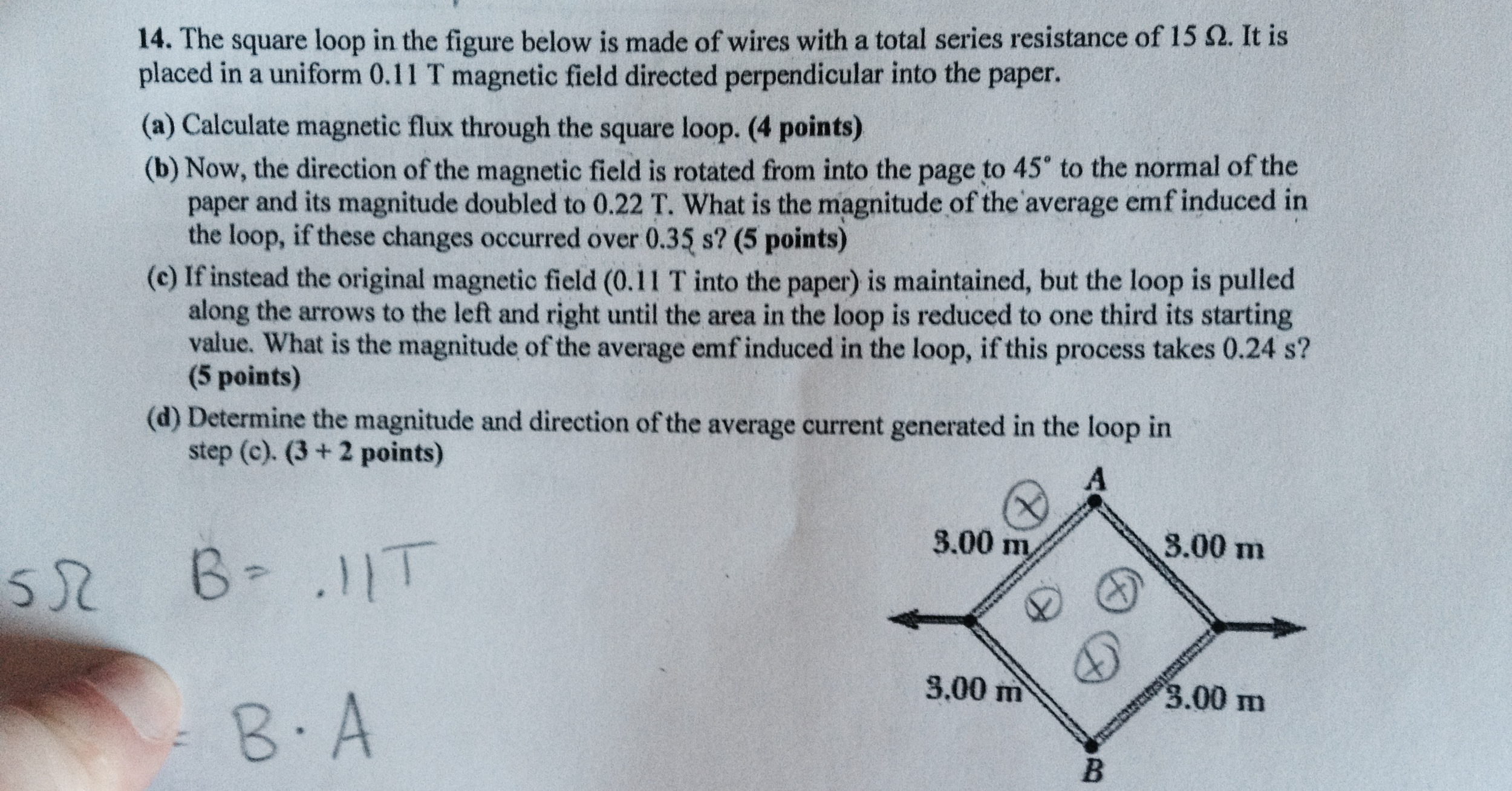 Solved: The Square Loop In The Figure Below Is Made Of Wir ...