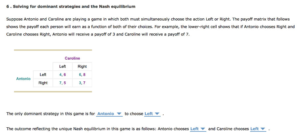 Solved 6 Solving For Dominant Strategies And The Nash Eq