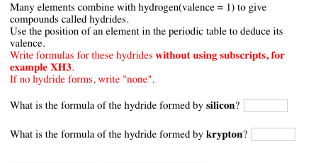 Solved many elements combine with hydrogenvalence 1 t many elements combine with hydrogenvalence 1 to give compounds called hydrides urtaz Choice Image