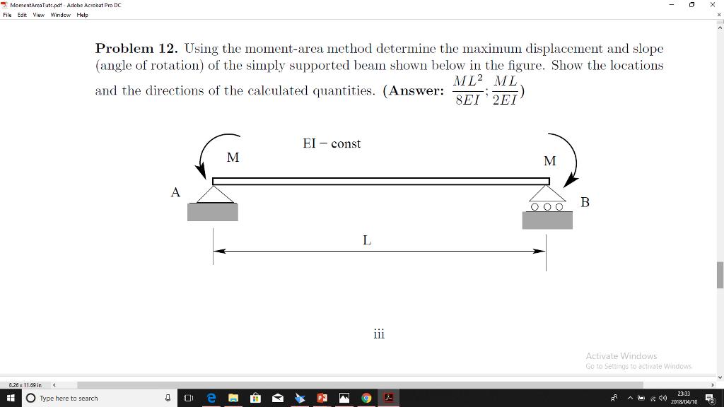 Solved: MomentAreaTuts pdf Adobe Acrobat Pro DC File Edit