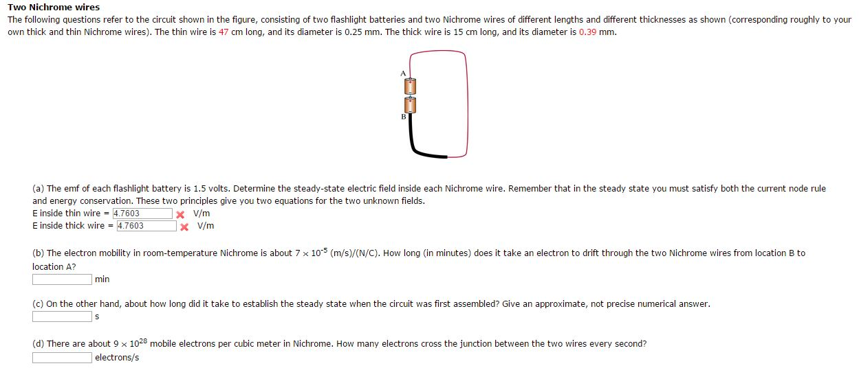 solved two nichrome wires the following questions refer t rh chegg com electrical wiring questions and answers pdf Basic Electrical Wiring Diagrams
