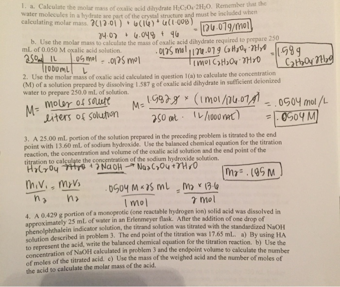Solved: Calculate The Molar Mass Of Oxalic Acid Dihydrate