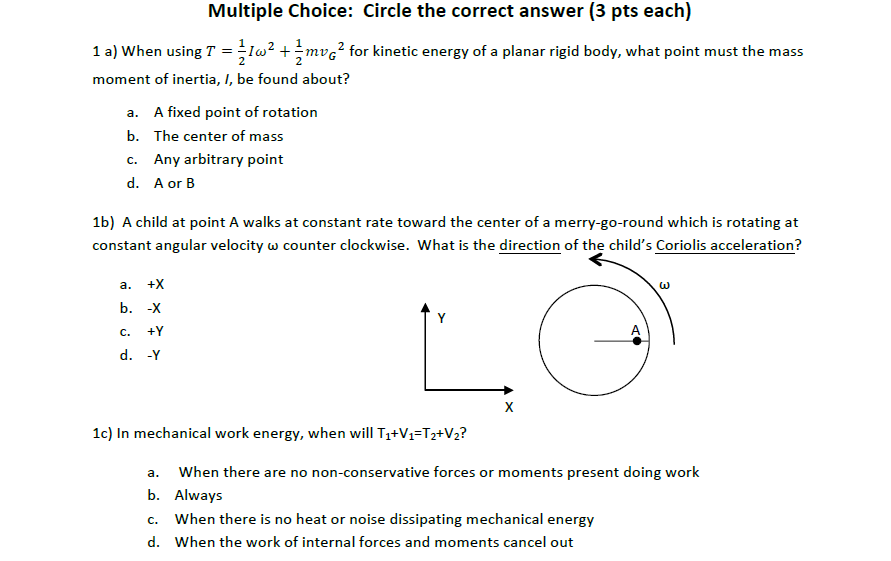 Solved: Multiple Choice: Circle The Correct Answer (3 Pts