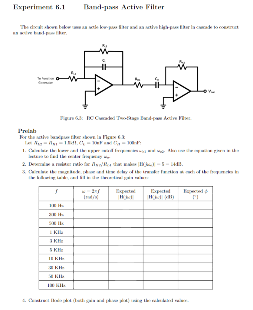 Solved Experiment 61 Band Pass Active Filter The Circuit How To Build Notch Diagram Shown Below Uses An Actie Low