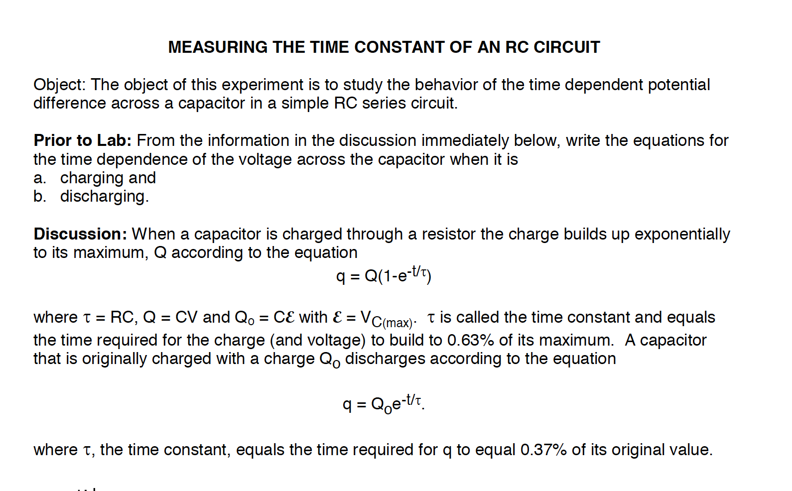 Solved Measuring The Time Constant Of An Rc Circuit Objec Experiment 6 Resistors In A Series Ii Answer Prior To Lab Part Only Image For Object This