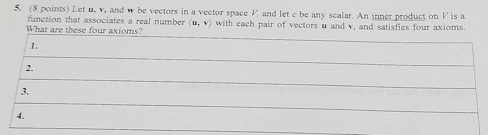 5. (8 points) Let u, v. and w be vectors in a vector space V and let c be any scalar. An inner product on Vis a function that associates a real number Ku, v with each pair of vectors u v, and satisfies four axioms. What are these four axioms?