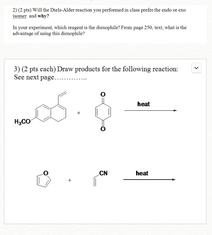 a synthesis experiment using diels alder reaction