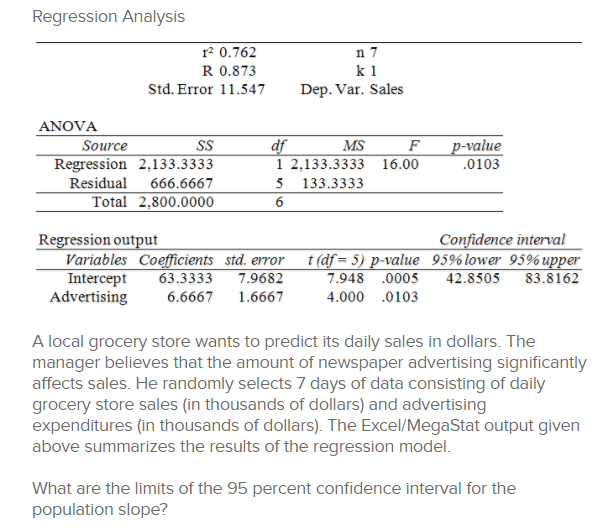 Solved: Regression Analysis R2 0 762 R 0 873 K 1 Std  Erro