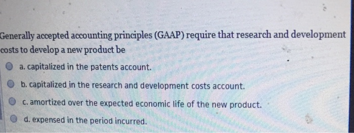 Solved: Generally Accepted Accounting Principles (GAAP) Re