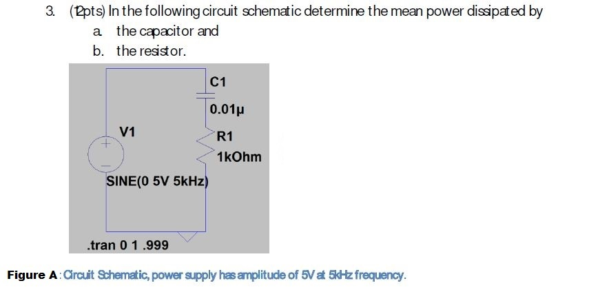3. (2pts) In the following circuit schematic determine the mean power dissipated by a the capacitor and b. the resistor C1 0.01μ V1 R1 1kOhm SINE(O 5V 5kHz) .tran 0 1 .999 Figure A : Circuit Shematic, power spply has amplitude of 5は frequency