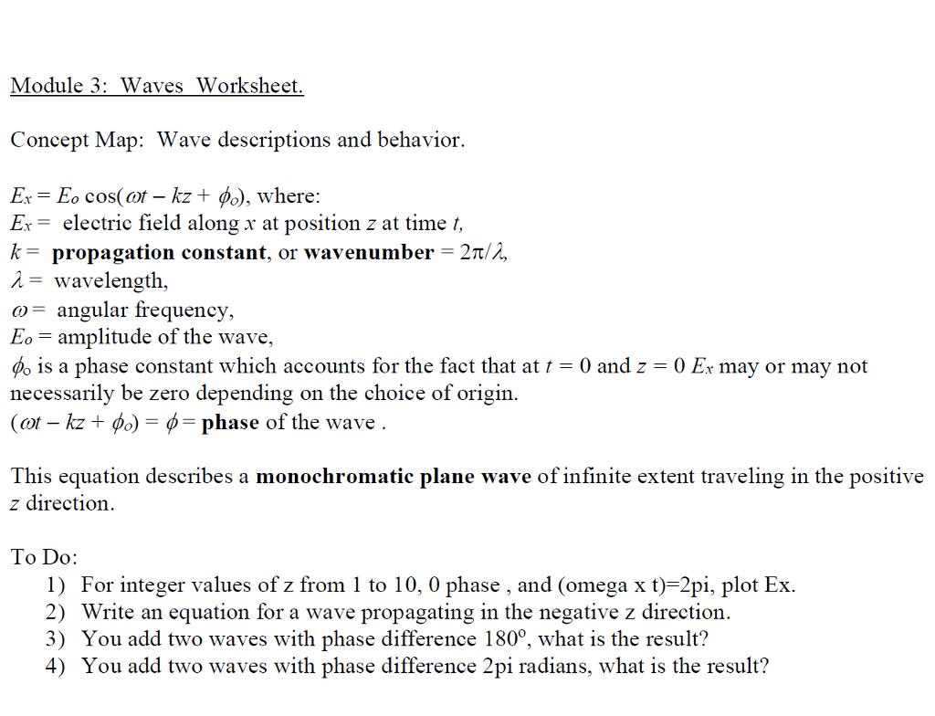 module 3 waves worksheet concept map wave descriptions and behavior eo cos - Waves Worksheet