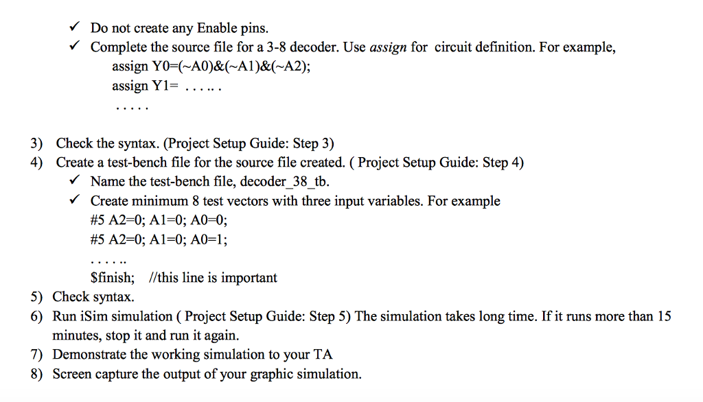 Solved: Lab Assignment 5 Verilog Introduction: 3-8 Decoder