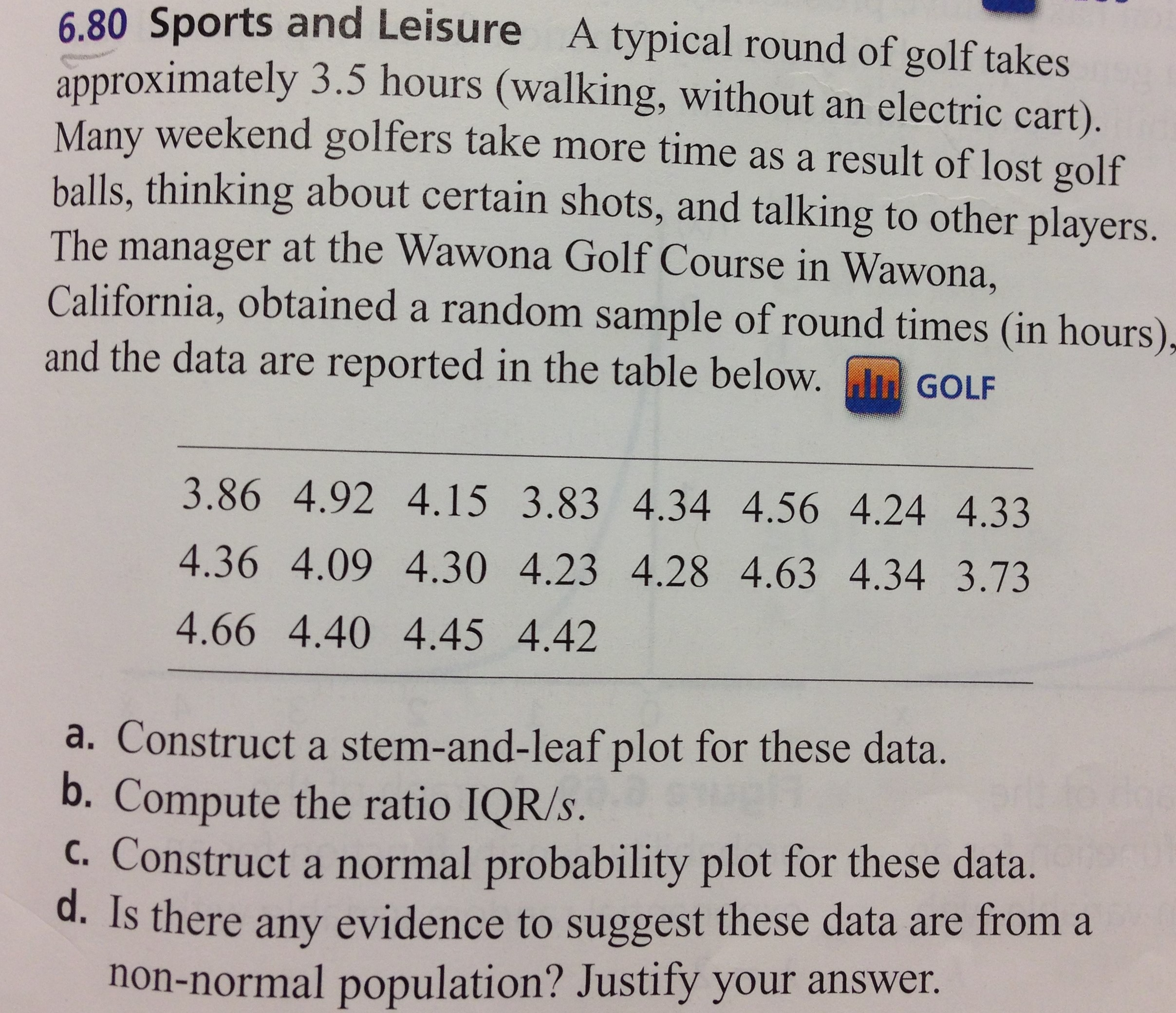 2 Chapter Calculating Lesson 3 Mode Median Stemandleaf Plots Sports And  Leisure A Typical Round Of