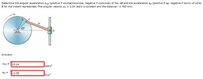Solved Determine The Angular Acceleration Sigmaab Posit