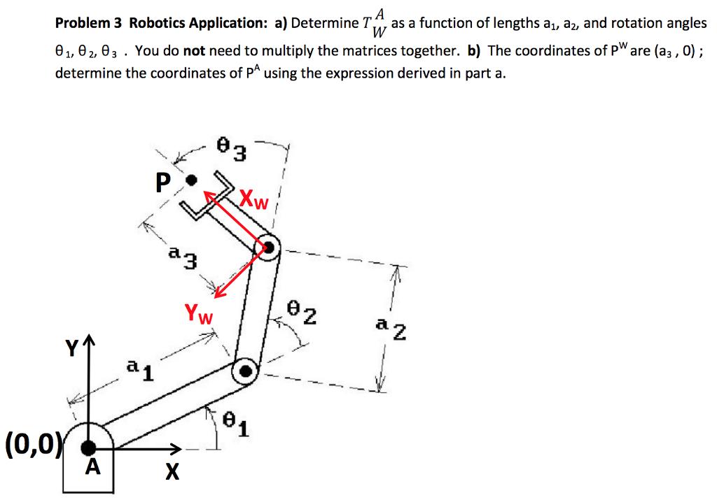 Solved Problem 3 Robotics Application A Determine Tw As