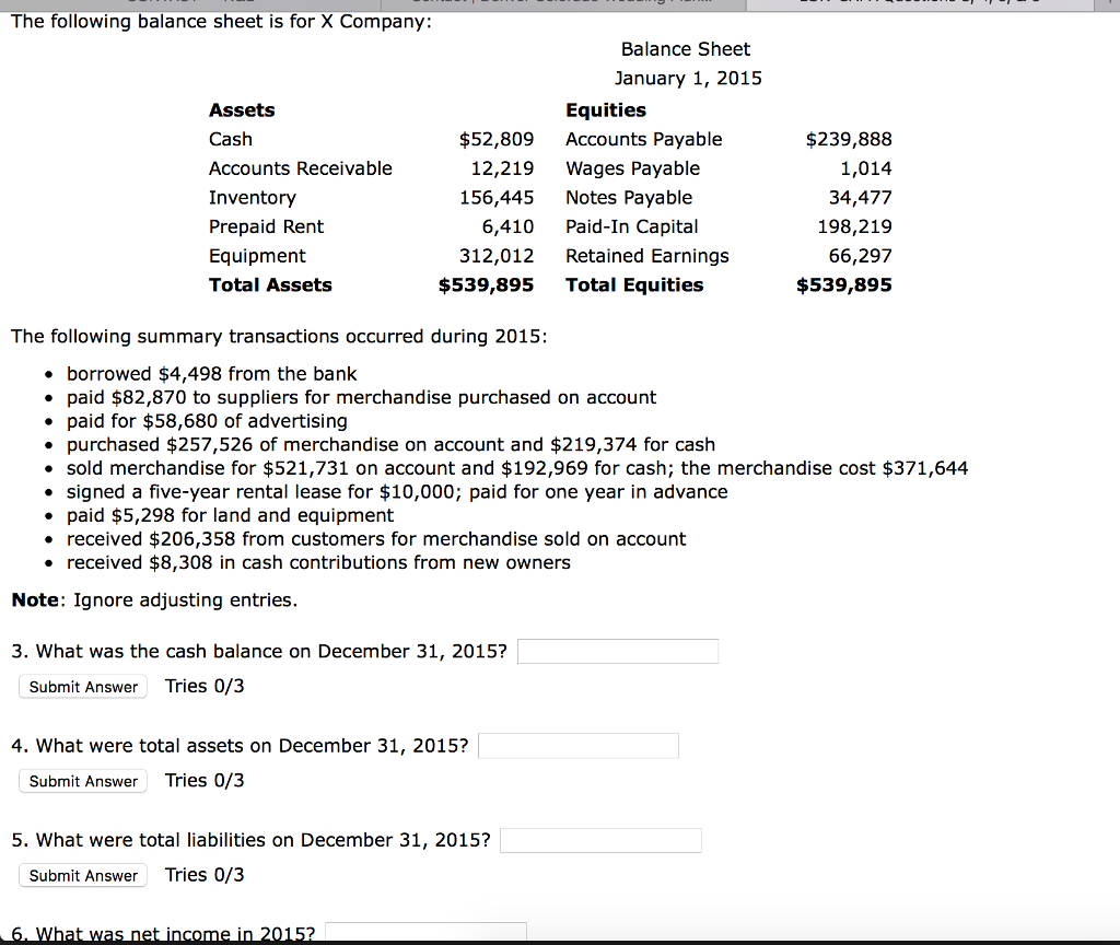 solved the following balance sheet is for x company the