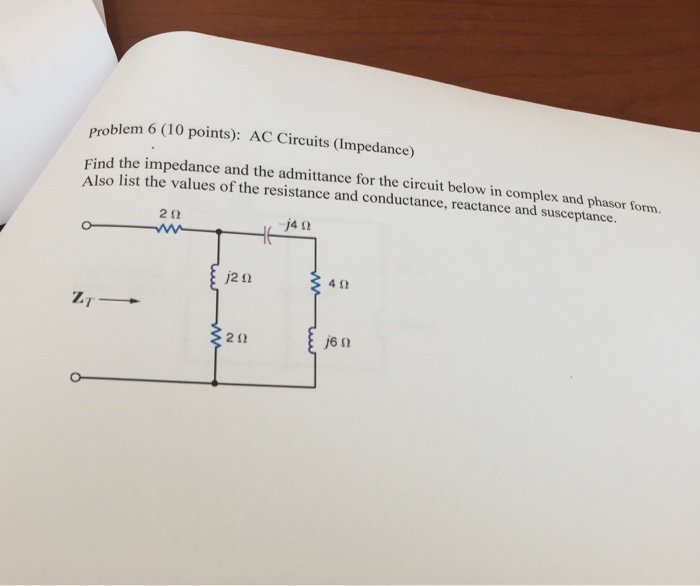 Find the impedance and the admittance for the circ