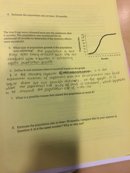 Population Ecology  Please Use The Exact Equations