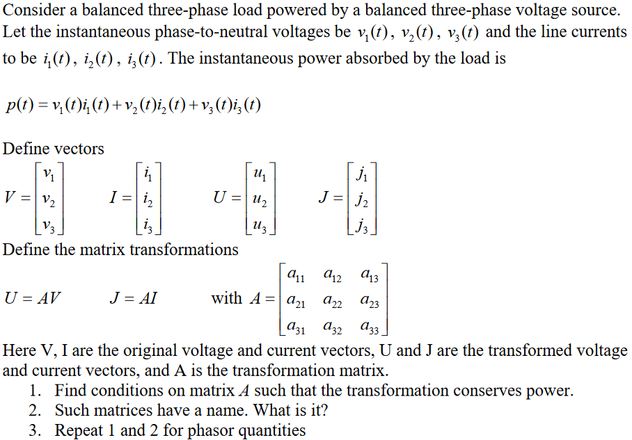 Solved: Consider A Balanced Three-phase Load Powered By A