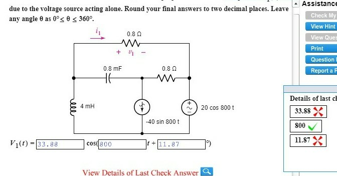 Electrical engineering archive february 24 2018 chegg assistance due to the voltage source acting alone round your final answers to two decimal fandeluxe Image collections