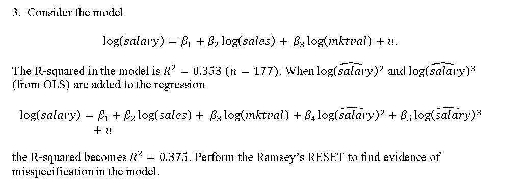 Consider The Model Log(salary) = Beta_1 + Beta_2 L    | Chegg com