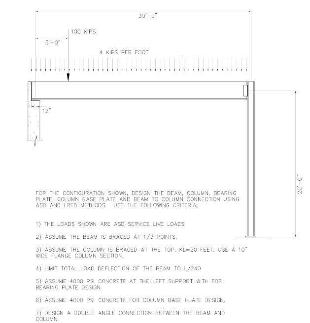 Solved: Design The Beam, Bearing Plate, Column , Etc In AS