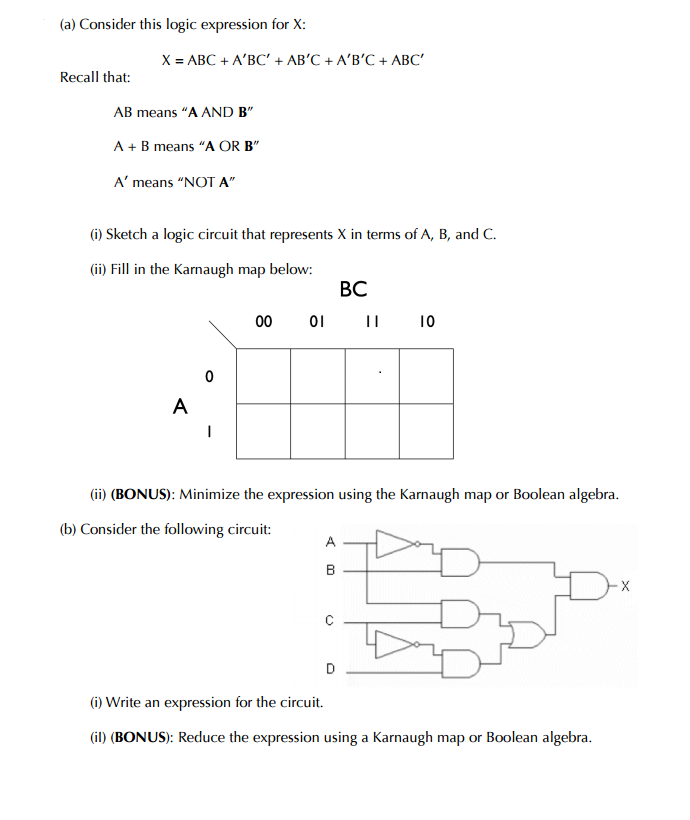 Solved: Consider This Logic Expression For X: X = ABC + A ... on