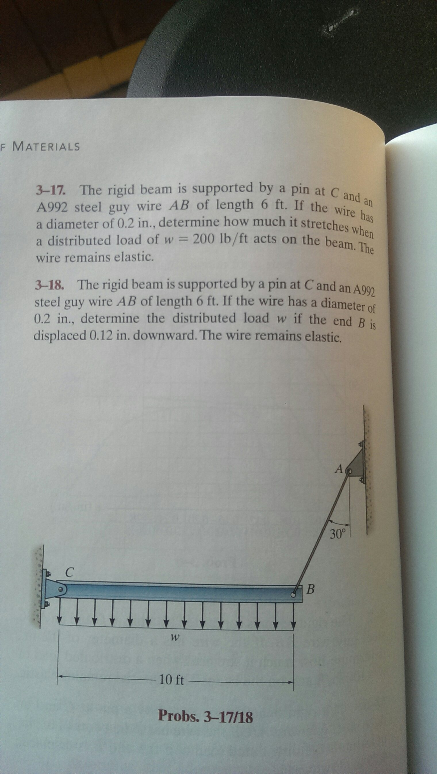 Solved: The Rigid Beam Is Supported By A Pin At C And A992 ...
