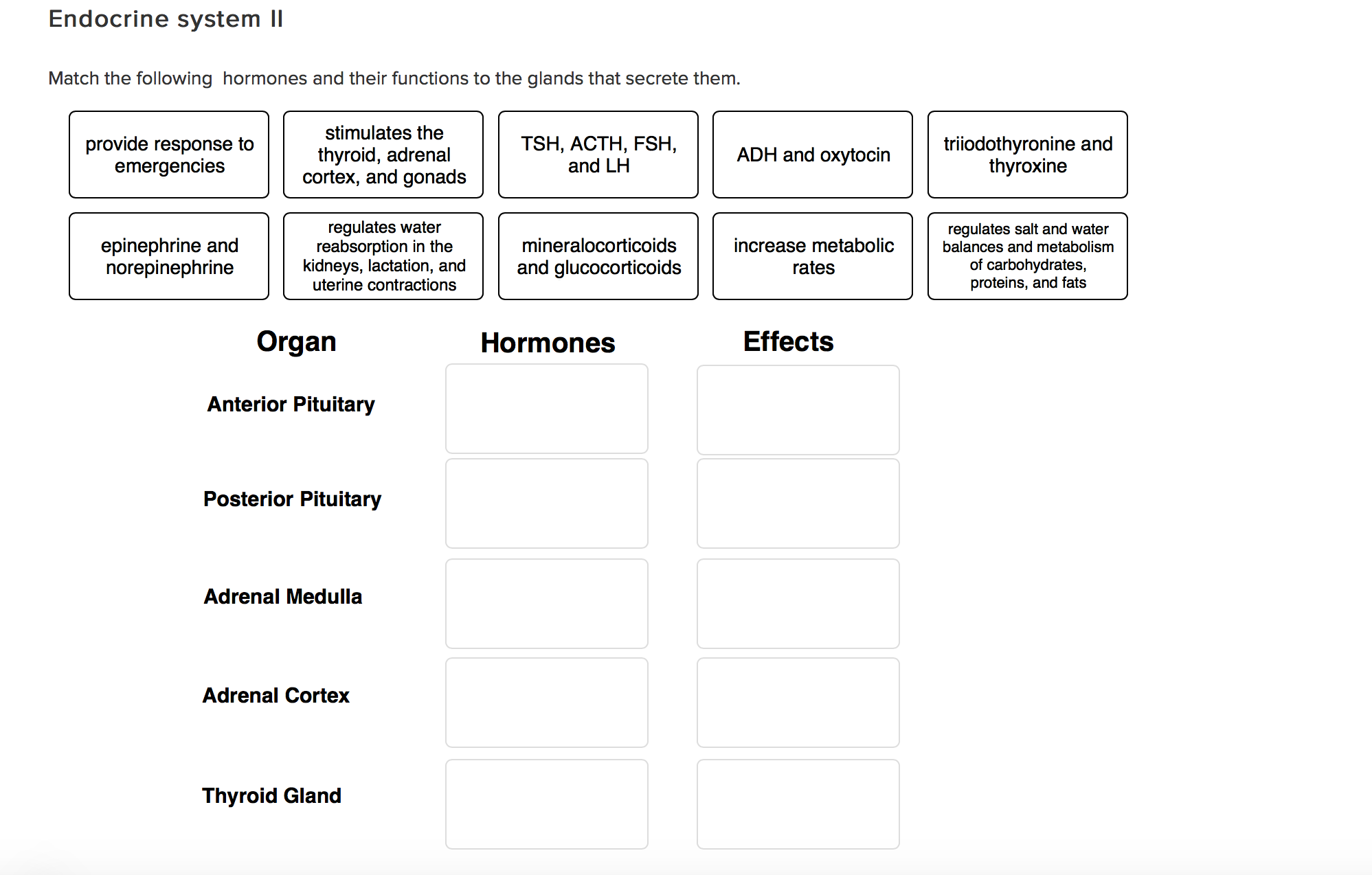 solved match the following hormones and their functions t