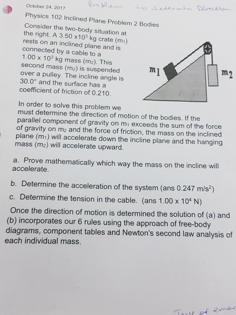 Solved October 24 2017 Physics 102 Inclined Plane Proble